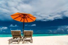 Rustig landschap, het ontspannen strand, tropisch landschapsontwerp Het ontwerp van de de reisvakantie van de de zomervakantie stock foto's
