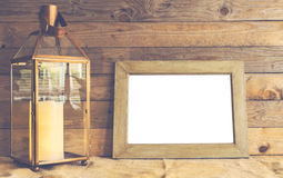 Rustiic mockup scene with frame and lantern Royalty Free Stock Photography