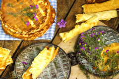Rustik Homemade wafers with waffle-iron Royalty Free Stock Photography