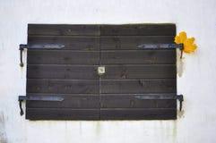 Rustikale alte Fenster-Fensterläden auf einer Stuck-Wand Stockfotografie
