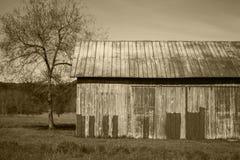 Rustikale alte Scheune mit historischer Landwirtschaftskultur des Sepiatones in Amer Stockfotos