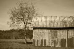 Rustikale alte Scheune mit historischer Landwirtschaftskultur des Sepiatones in Amer Lizenzfreie Stockbilder
