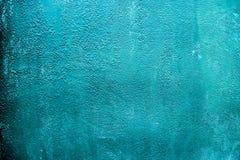 Rustikale blaue cyan-blaue gemalte Metallstahloberfläche Strukturierter abgenutzter Eisenhintergrund des Schmutzes Musternahaufna stockfotos