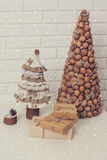 Rustikale Dekorationen des neuen Jahres Stockbild