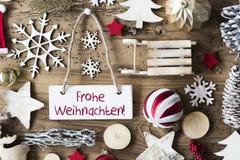 Rustikale Ebenen-Lage, Frohe Weihnachten bedeutet frohe Weihnachten Stockfotografie