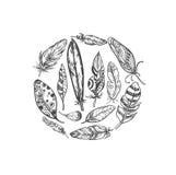 Rustikale ethnische böhmische Artfedern Weinlese-Vektorsatz des Vektors Hand gezeichneter Schwarzweiss-Tintenillustration Weinles Stockfotos