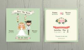 Rustikale Hochzeitskarikaturbraut und -bräutigam verbinden Einladungskarte Stockfoto