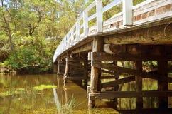 Rustikale Holzbrücke über Fluss im Wald Lizenzfreie Stockbilder