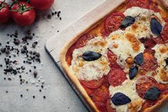 Rustikale italienische Pizza mit Mozzarella-, Käse- und Basilikumblättern Lizenzfreie Stockbilder