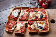 Rustikale italienische Pizza mit Mozzarella-, Käse- und Basilikumblättern lizenzfreies stockbild