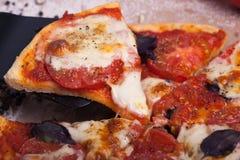 Rustikale italienische Pizza mit Mozzarella-, Käse- und Basilikumblättern Lizenzfreie Stockfotos