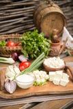 Rustikale natürliche Milchprodukte Lizenzfreie Stockfotografie