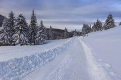 Rustikale Straße im Winter Stockfotografie