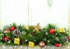 Rustikale Weihnachtsgrenze Lizenzfreies Stockbild