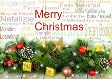 Rustikale Weihnachtsgrenze mit Mitteilung stockbilder