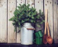 Rustikale Winterdekoration Lizenzfreies Stockbild