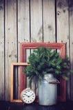 Rustikale Winterdekorationen Lizenzfreies Stockbild