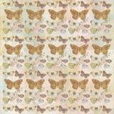 Rustikaler grungy botanischer Schmetterling, der Hintergrundmuster wiederholt lizenzfreies stockfoto