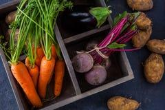 Rustikaler Kasten mit frischen Karotten, Rote-Bete-Wurzeln, Aubergine und Kartoffeln stockbilder