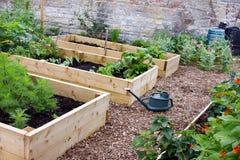Rustikaler Land-Gemüse-u. Blumen-Garten mit Hochbeeten, Spaten, Gießkanne u. Composters lizenzfreies stockfoto