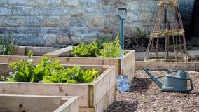 Rustikaler Land-Gemüse-u. Blumen-Garten mit Hochbeeten Spaten u. Gießkanne Stockfotos