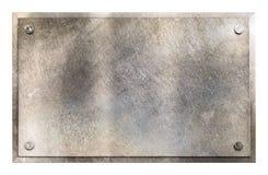 Rustikaler Metallplattenzeichenhintergrund Stockbilder