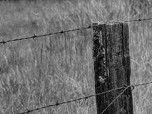 Rustikaler Stacheldraht-Zaun in Schwarzweiss Lizenzfreie Stockfotos