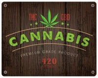 Rustikales Hanf-Marihuanalogo und -hintergrund Stockfoto