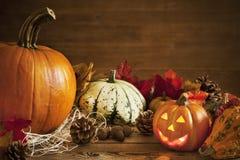 Rustikales Herbststillleben mit Kopienraum Stockbilder