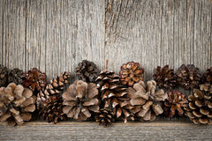Rustikales Holz mit Kiefernkegeln Stockfoto