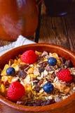 Rustikales muesli Frühstück mit Waldfrüchten Stockfotografie