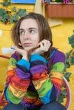 Rustikales Porträt einer jungen Frau Lizenzfreies Stockfoto