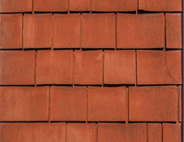 Rustikales Rot gemalter Cedar Shingles Background Texture lizenzfreie stockbilder