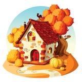 Rustikales Steinhaus Autumn Landscape Stock Abbildung