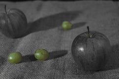 Rustikales Stillleben mit Frucht und flachem Fokus Stockfoto
