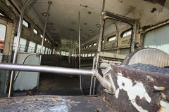 Rusting abandoned trolley car Stock Images