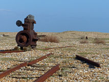 Rusting away. Relics of the former railway line at Dungeness, Kent Royalty Free Stock Photo