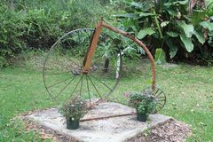 A rusting 1800 ball busting two wheeled bicycle. A rusting 1800`s ball busting 2 wheeled bicycle resting on a grey concrete pad with flowering potted plants and stock images