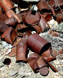Rusting Cans. Old dump site Stock Photos