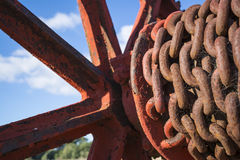 Rusting Chains on an Old Hoist Stock Photo