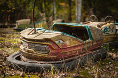 Rusting derelict bumper cars at Pripyat, Chernobyl Stock Images
