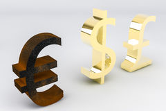 Rusting Euro. Three currency signs, the dollar, pound and euro.  The euro is rusty and the other two are gold Royalty Free Stock Images