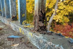 Rusting fence. Damaged rusting fence with blue coating Royalty Free Stock Images