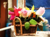 Rusting flowers. A colorful scene, in which old wask showing its Beauty Stock Photography