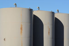 Rusting Industrial Storage tanks Royalty Free Stock Photos