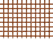 Rust iron gate spiky bottom mesh. Isolated rustic iron gate sharp pointy bottom. Medieval stronghold gateway. Heavy metal mesh rivets and stripes with rusty Royalty Free Stock Image
