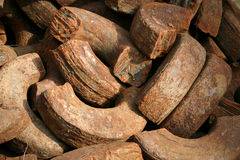 Rusting Iron texture. A full frame background texture of a pile of rusting iron fragments Stock Image