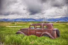 Rusting Jalopy On Montana Farm Royalty Free Stock Photos