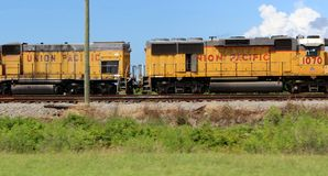 Rusted Freight Train on Railroad Tracks stock photography