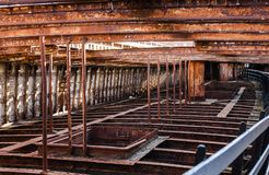 Rusting Ship Structure. Rusting structure of an abandoned ship with sunlight Royalty Free Stock Photo
